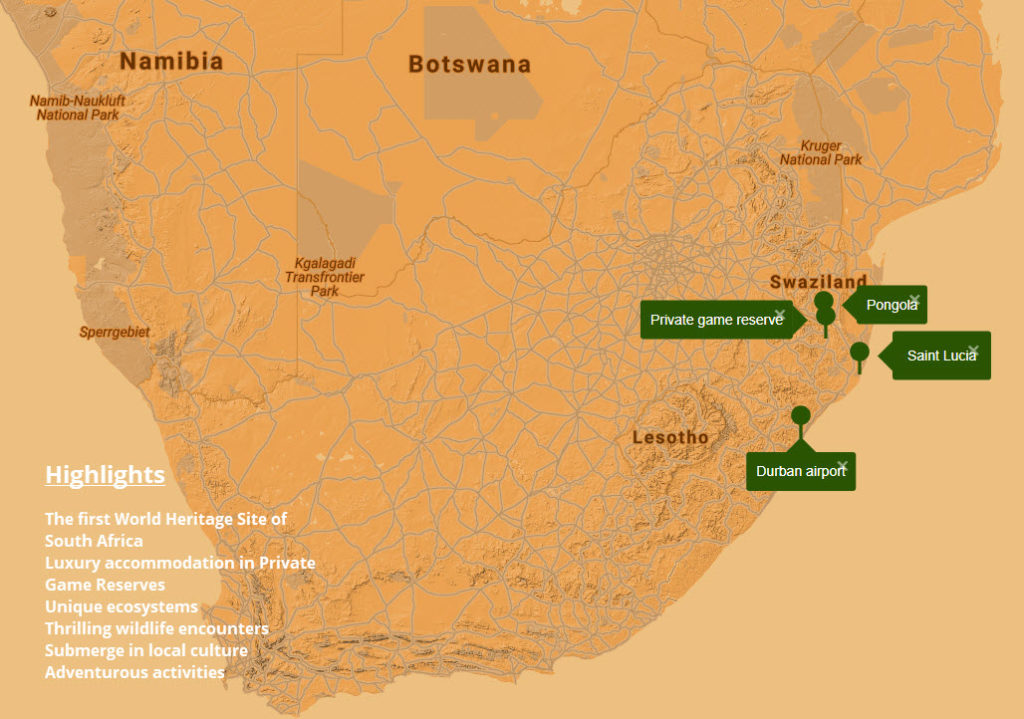 Sport n Safari - Map - Tour - KwaZulu-Natal